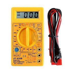 Multímetro Digital Profissional Cabo Teste Portátil Bateria DT830