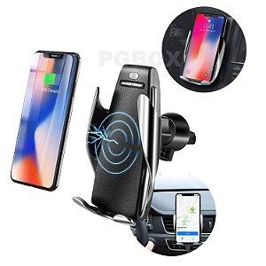 Carregador Veicular Qi Smart Com Sensor E Carregamento Sem Fio (wireless Charger S5)