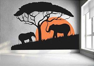 Adesivo de Paredes Estilo África Elefantes