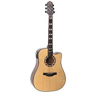 Violao Folk Cutaway T/solid Spruce B/s Mogno Eq Cr-t Nv Gloss Hd-520ce/n Crafter