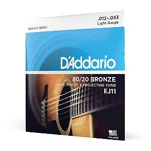 Encordoamento Violão Aço .012 D'Addario Bronze 80/20 EJ11