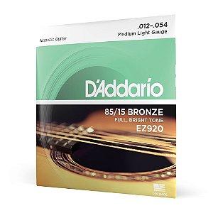 Encordoamento Violão Aço .012 D'Addario Bronze 85/15 EZ920