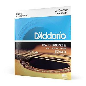 Encord Violão Aço 12C .010 D'Addario Bronze 85/15 EZ940