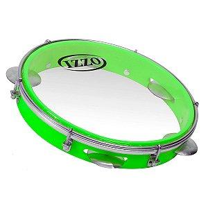 Pandeiro 10 Pol Abs Verde Neon C/pele Transparente Izzo