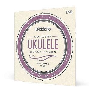 Encord Ukulele Concerto D'Addario Pro-Arté Black EJ53C