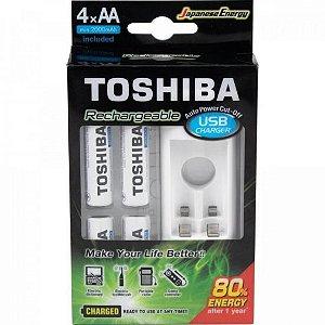 Carregador de Pilha USB p/2 pilhas AA/AAA min.2.000 mAh c/4 pilhas TOSHIBA