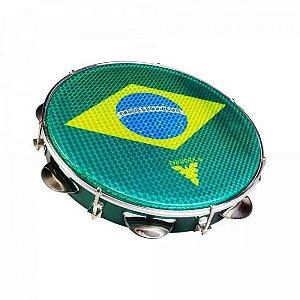 "Pandeiro Acrílico 10"" 96A Holográfico Brasil/Verde PHX"