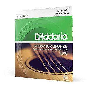 Encordoamento Violão Aço .014 D Addario Phosphor Bronze EJ18