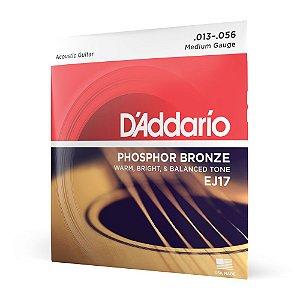Encordoamento Violão Aço .013 D Addario Phosphor Bronze EJ17