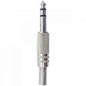 Plug P10 Estéreo Metal com Mola Niquelado GENÉRICO - PCT / 50