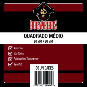 Sleeves 80 x 80 mm (Quadrado medio) – Bucaneiros