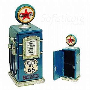 Bomba de Gasolina Porta CDs Rota 66 Azul - Oldway