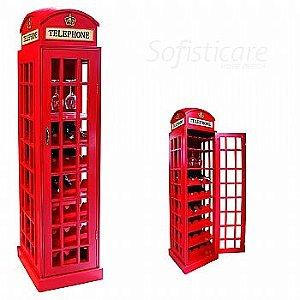 Adega Cabine Telefônica Vermelha em Madeira - Oldway