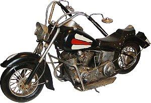 Miniatura Moto Preta Grande em Metal - Oldway