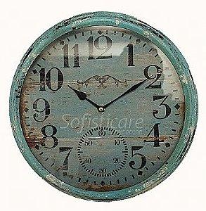 Relógio de Parede Azul Envelhecido em Ferro - Oldway