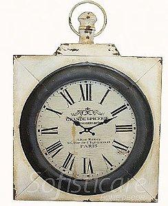 Relógio de Parede Paris Quadrado em Ferro - Oldway