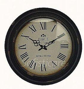 Relógio de Parede France Preto em Ferro - Oldway