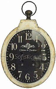 Relógio de Parede Chateau Branco com Fundo Escuro Oval em Ferro - Oldway