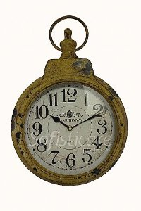 Relógio de Parede Estilo Relógio de Bolso Amarelo Envelhecido - Oldway