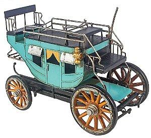 Miniatura Carruagem Azul em Ferro - Oldway