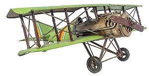 Miniatura Avião Verde em Metal Grande - Oldway