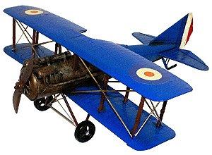 Miniatura Avião Azul Grande em Metal - Oldway