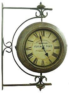 Relógio de Estação Vintage Port Giratório em Metal - Oldway