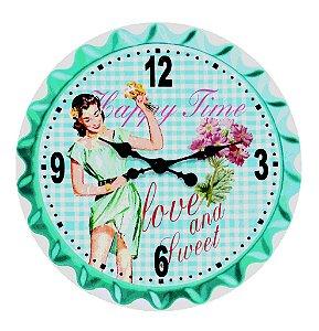 Relógio de Parede Happy Time em Madeira - Fullway