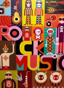 TELA IMPRESSA ROCK MUSIC COLORS FULLWAY -  REF: 108.354
