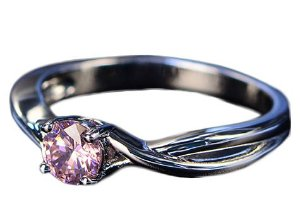 Anel de Prata Pansysen Fashion com Pedra de Sapphire cor Rosa
