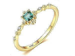 Anel de Prata Banhado a Ouro 18k com Pedra Preciosa de Zircão cor Verde