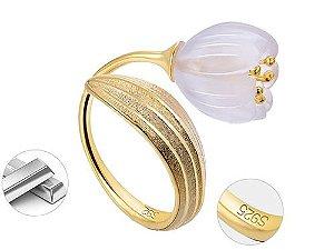 Anel de Ouro 18k com Pedra Flor de Lotus Estilo Trendy