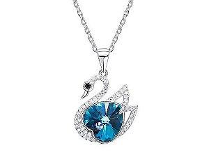 Colar em Ouro 18k Estilo Fashon com pedra de Cristal Coração Azul
