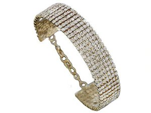 Pulseira Bracelet Nupcial de Liga com Cristais Strass 25cm por 1.7cm 2 cores