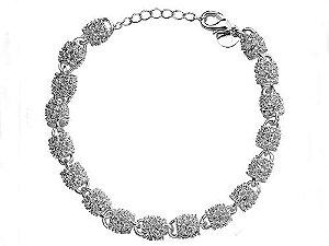 Pulseira de Prata com pedras Preciosas Zircão e Cristal de 20 cm Cor Brilho