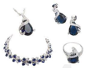 Conjunto Prata de Joias com Pedras Preciosas com Colar Pulseira Brincos e Anel cor Azul
