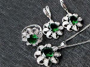 Conjunto de Jóias de Prata com Colar Brinco Pulseira Anel cor Verde