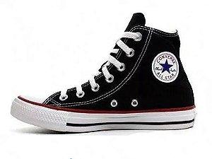 Tênis Unissex All Star Converse Botinha Convencional Hi cor Preto com Branco Black to White