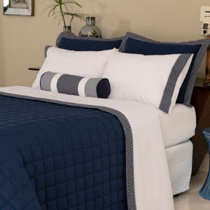 Cobre leito lavive Capri azul-Super king-vira doblo com almofada
