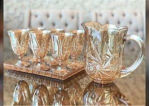 Conjunto 7 peças Jarra e 6 Taças de Cristal Prima Lyor Ambar