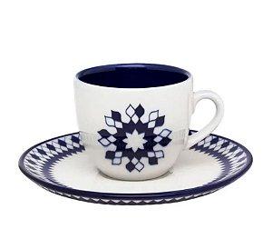 Jogo 06 xícaras com pires oxford azul