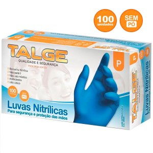 Luva Nitrílica Azul Descartável sem pó Talge P, M e G - Cx 100 unid