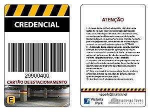 CARTAO PVC - COD. BARRAS - PADRAO CREDENCIAL ESTACIONAMENTO - CX 10 UNID