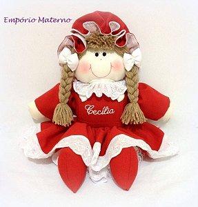 Boneca de pano artesanal personalizada VERMELHA