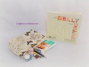 Livro Belly Mapping + Kit para pintura de barriga  - borboletas com escrita