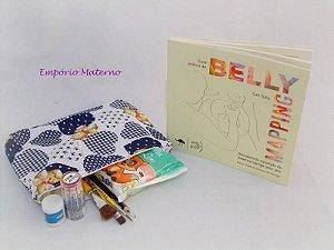Livro Belly Mapping + Kit para pintura de barriga - ursos pachwork azul