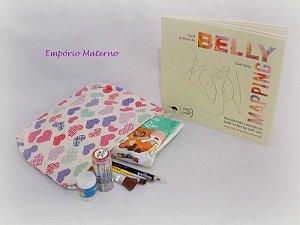 Livro Belly Mapping + kit para pintura de barriga - corações