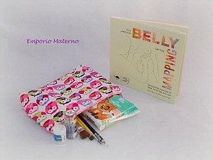 Livro Belly Mapping + Kit para pintura de barriga  - corujas com fundo branco
