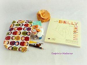Livro Belly Mapping + Kit para pintura de barriga - matrioskas com fundo branco