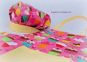 kit Avental e Touca - Cupcake rosa com amarelo